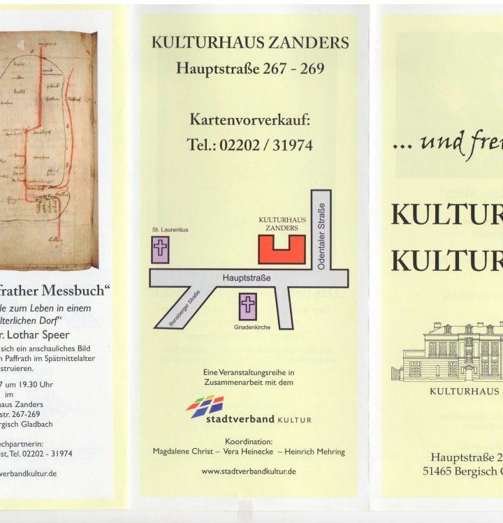 """… und Freitags: KULTUR IM KULTURHAUS """"Das Rote Paffrather Messbuch"""""""