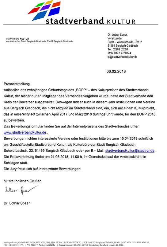 Bewerbungen zum BOPP 2018