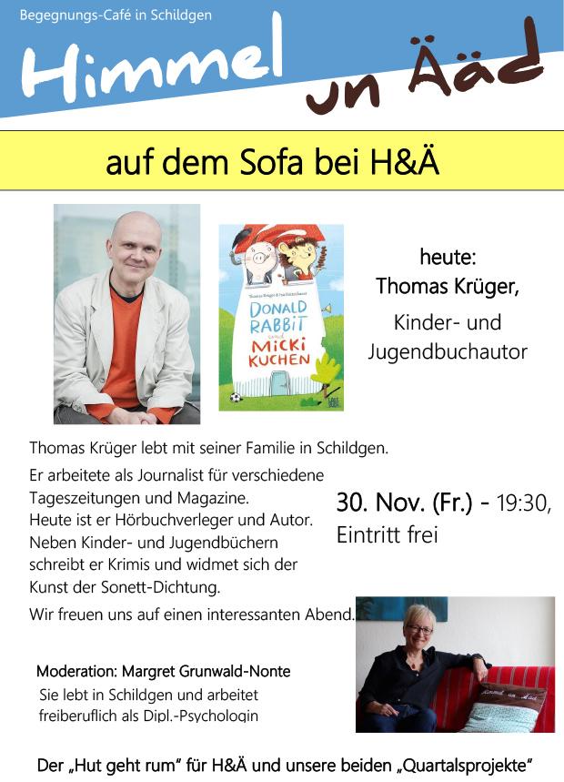 """Auf dem Sofa bei H&Ä"": heute Thomas Krüger"