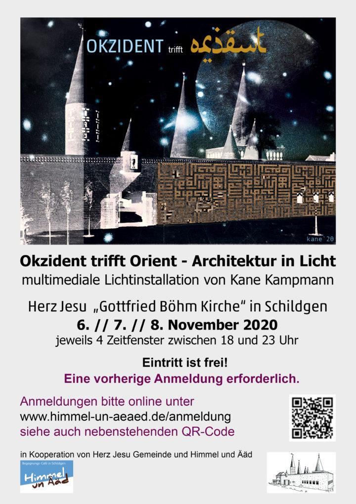 """Neuer Termin! OKZIDENT TRIFFT ORIENT – Lichtinstallation in """"Böhm-Kirche"""" HERZ JESU in Schildgen (Bergisch Gladbach)"""